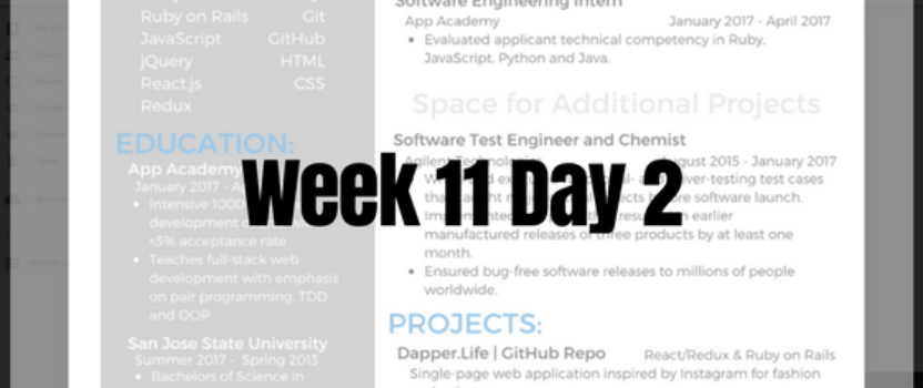 Week 11 Day 2 – Job Search Applications and JS Project – BAOSS
